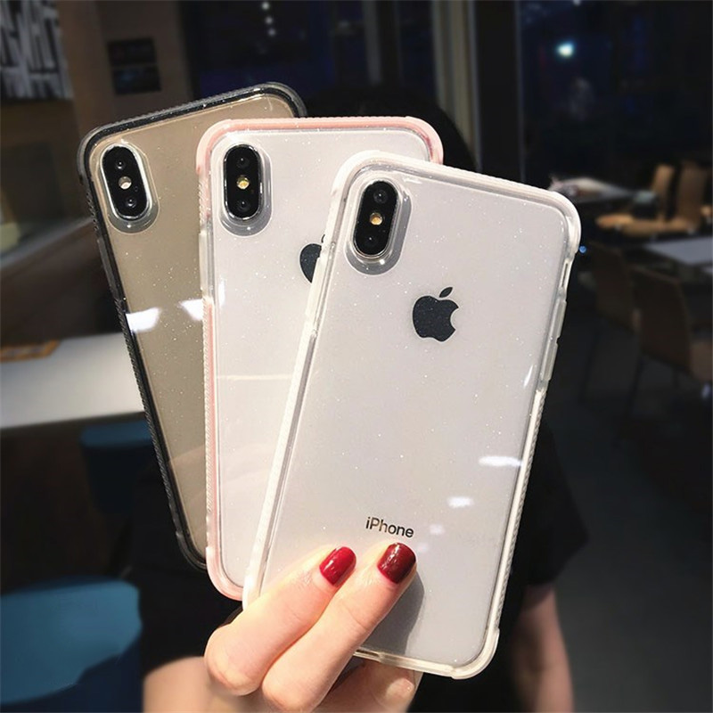 Shockproof Glitter Shining Powder Phone <font><b>Cases</b></font> For <font><b>iPhone</b></font> 11 Pro XS MAX X XR 10 6 <font><b>6s</b></font> 7 8 Plus 8Plus 7Plus Soft <font><b>Silicon</b></font> Cover <font><b>Logo</b></font> image