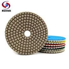 RIJILEI 10PCS 4inch Diamond polishing pad WHITE Flexible Grinding Disc For Granite Marble Stone Concrete Sanding ZJ11