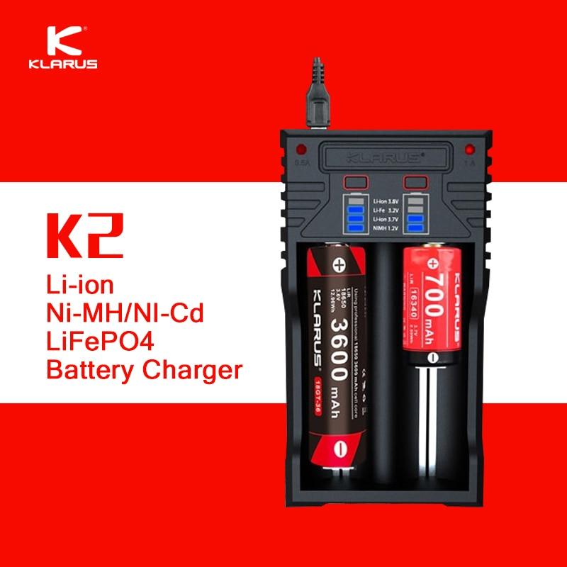 D'origine Klarus K2 USB Chargeur de Batterie Power Bank avec 0.5A/1A Cours En Option pour Li-ion NiMH NiCd LiFePO4 18650 26650 Batterie