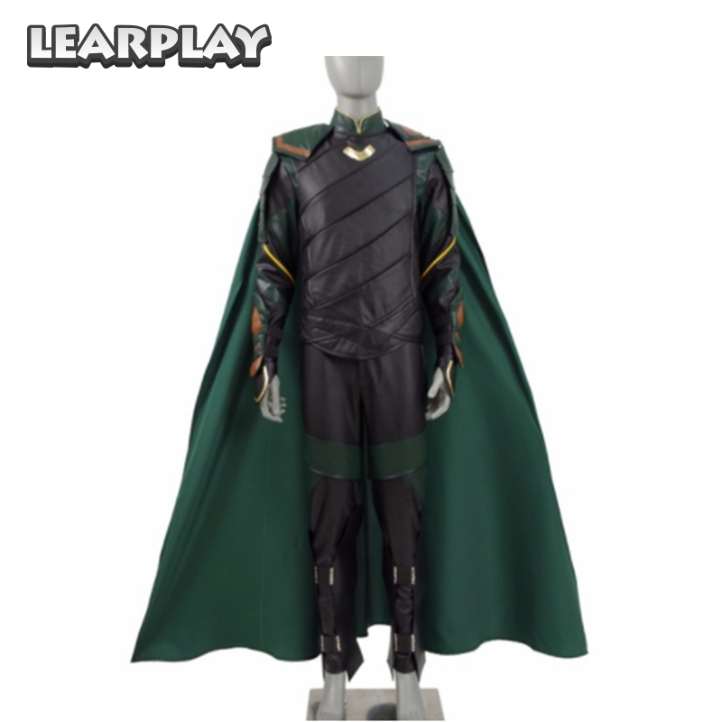 2018  Thor Ragnarok Loki Laufeyson Cosplay Costume Thor 3rd Men Green Armor Suit Halloween Outfit Full Set with Cloak