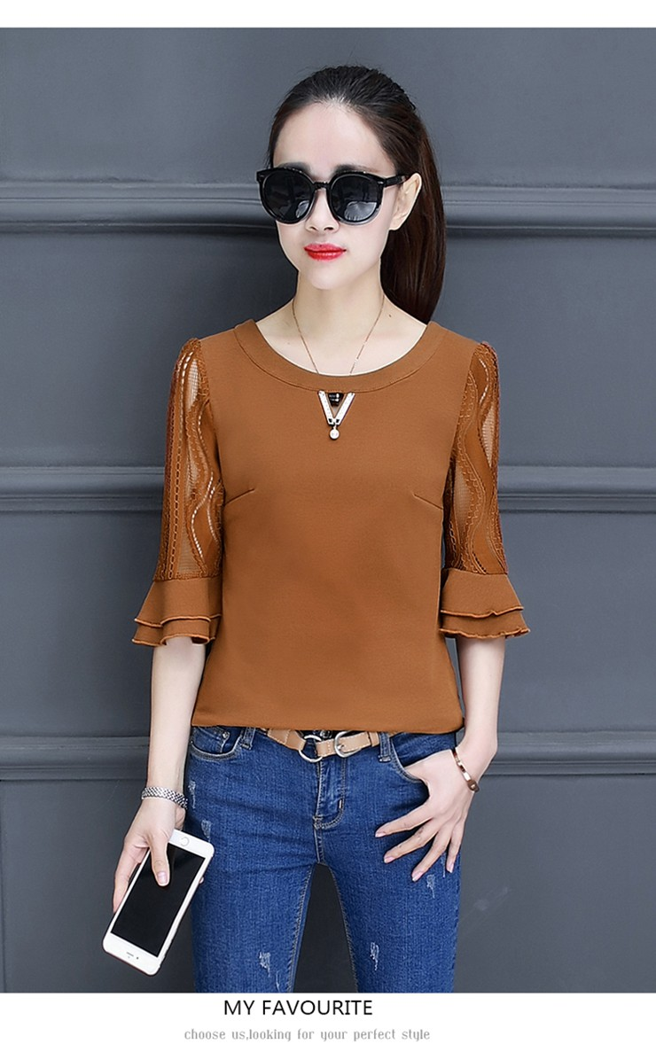 Women Blouse Summer Tops 2018 New Arrival Patchwork Blusas Mujer Lace Flare Sleeve Female Shirts Khaki Green Yellow  (5)