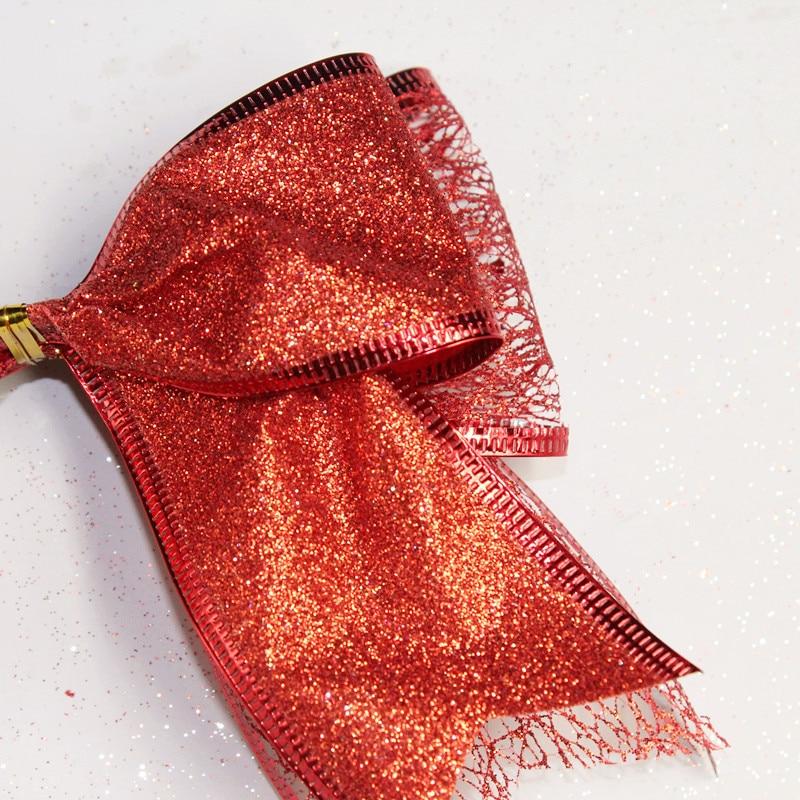 Uus odav lint vibu punane jõulud lint vibu jõulupuu teenetemärgi - Pühad ja peod - Foto 4