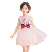 Sleevless Embroidered Princess Dress for Girls 2018 Summer Dresses with Bowknot