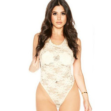 Echoine Plus Size XXL Lace Bodysuit Women Sexy Black White Floral Embroidered Sheer Teddies Lingerie Summer Body Suit