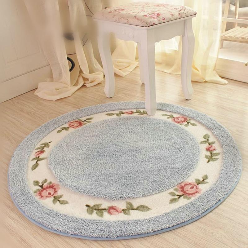 pastoral flower nonslip bathroom bath mat floor protection round carpet chair mat home decor