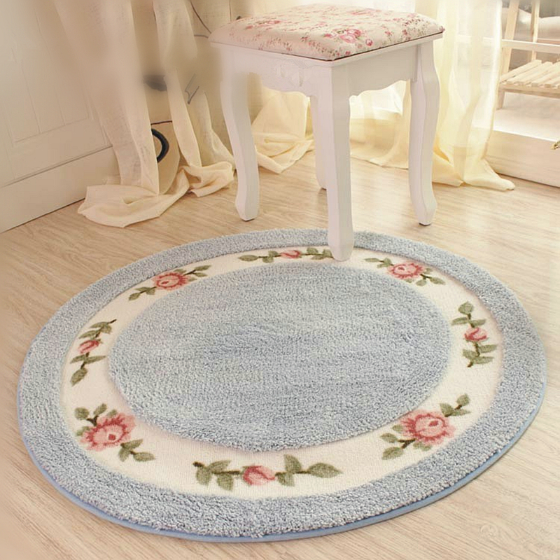 pastoral flower non slip bathroom bath mat floor protection round carpet chair mat home decor door