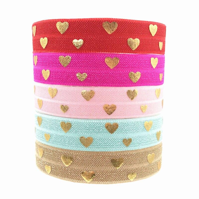 10yards 15mm Gold Foil Love Heart Print Fold Over Elastic FOE Ribbon Diy Headwear tie Sewing Wedding Decoration Accessories