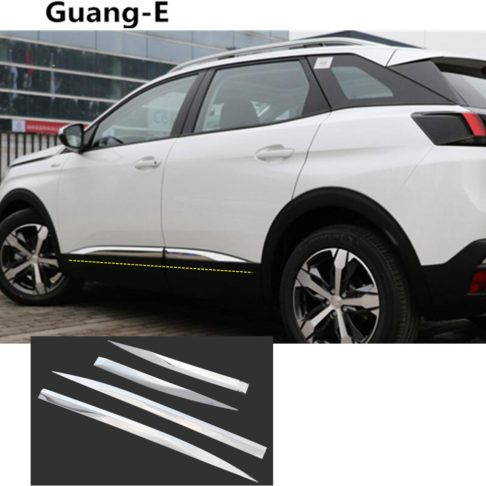 Car cover protection stainless steel Side Door trim stick Strip Molding bumper lamp 4pcs For Peugeot 4008/3008 2016 2017 2018