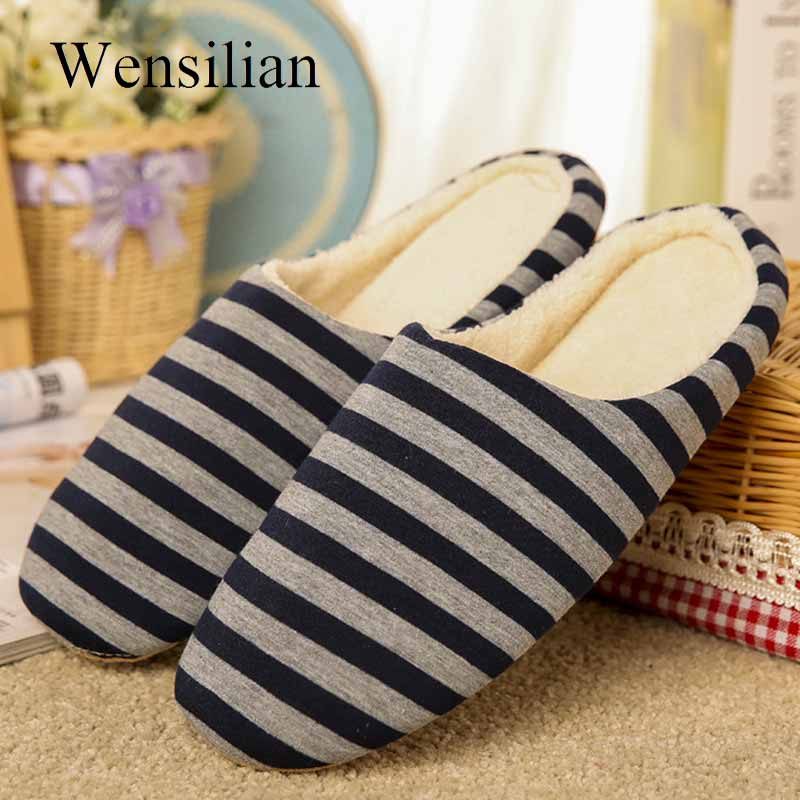 Winter Slippers Men Warm House Slippers Fluffy Slides Striped Footwear Couple Shoes Indoor Flip Flops Pantoffels Heren slipper