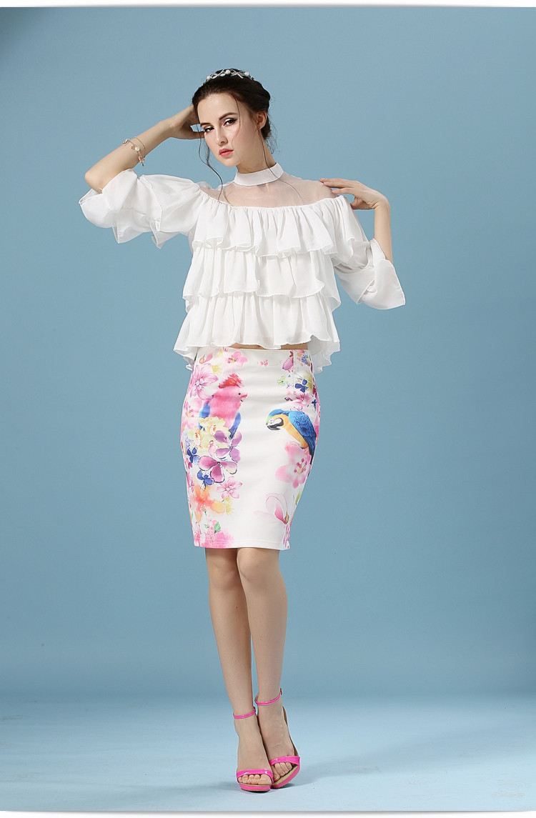 Elegant Office Pencil White Floral Bird Print High Waisted Skirt 3
