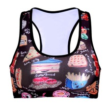 NEW 0077 Summer Sexy Girl Women food sandwich pizza 3D Prints Padded Push Up Gym Vest Top Chest Running Sport Yoga Bras