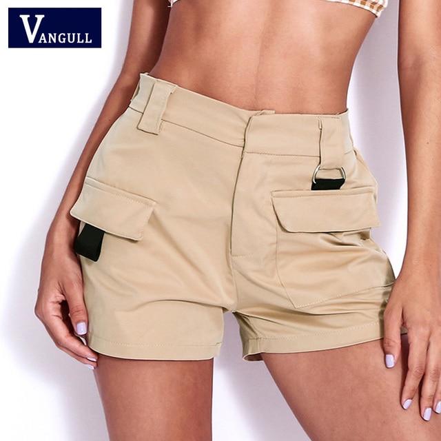 9a0e30f992d Vangull Big Pockets Women High Waist Shorts 2019 New Summer Fashion Short  Pants Female Work Wear