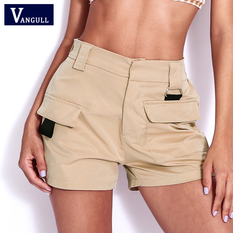 Vangull Big Pockets Women High Waist   Shorts   2019 New Summer Fashion   Short   Pants Female Work Wear Style Casual Loose Cargo   Shorts