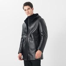 Ptslan Men Genuine Leather Jacket Real Sheepskin Shearling Coat Thick Warm Winter Outwear Full Pelt Luxury 2017 New Fashion