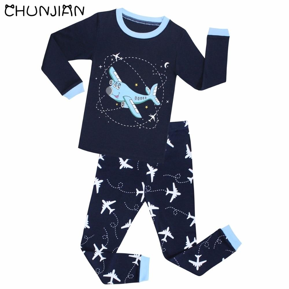 Boys Long Sleeve Pyjamas Kids Airplane Pajamas Baby 100% Cotton Pijama Children Sleepwear Girls Clothing Sets Baby Wears