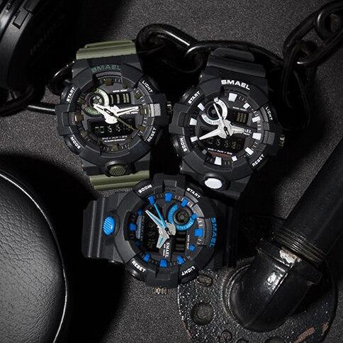 SMAEL Watch Men for Sports Quartz Wristwatches Digital LED Watch Alarm Gold S Shock Clocks1642 Sport Watches Man Water Resistant