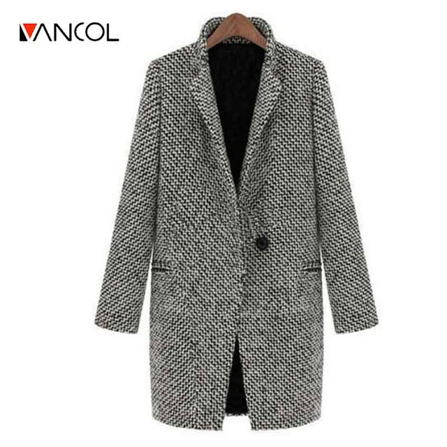 Vancol 2016 Winter European Slim Long Sleeved Grey Woolen Jacket Coat for Women Autumn Oversize Plus Size 4XL Winter Women Coat