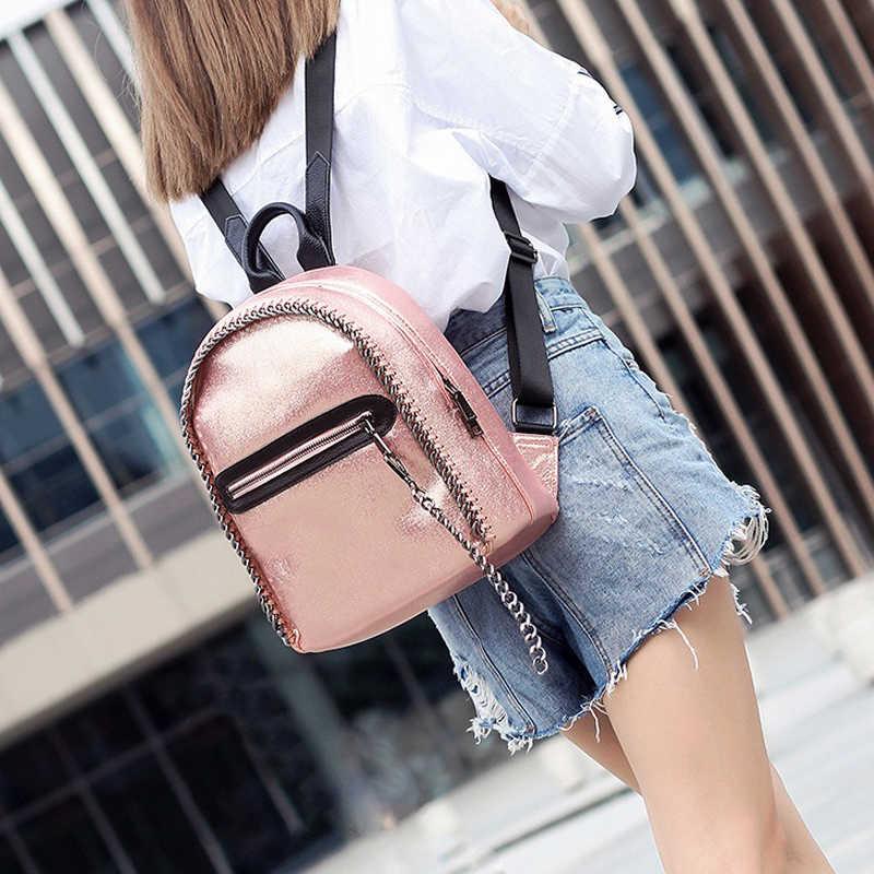 a722436133a3 MJ Women Backpack Fashion Braided Chain Backpacks Female Korean Style  Metallic Backpack Large Travel Bag Holographic School Bag