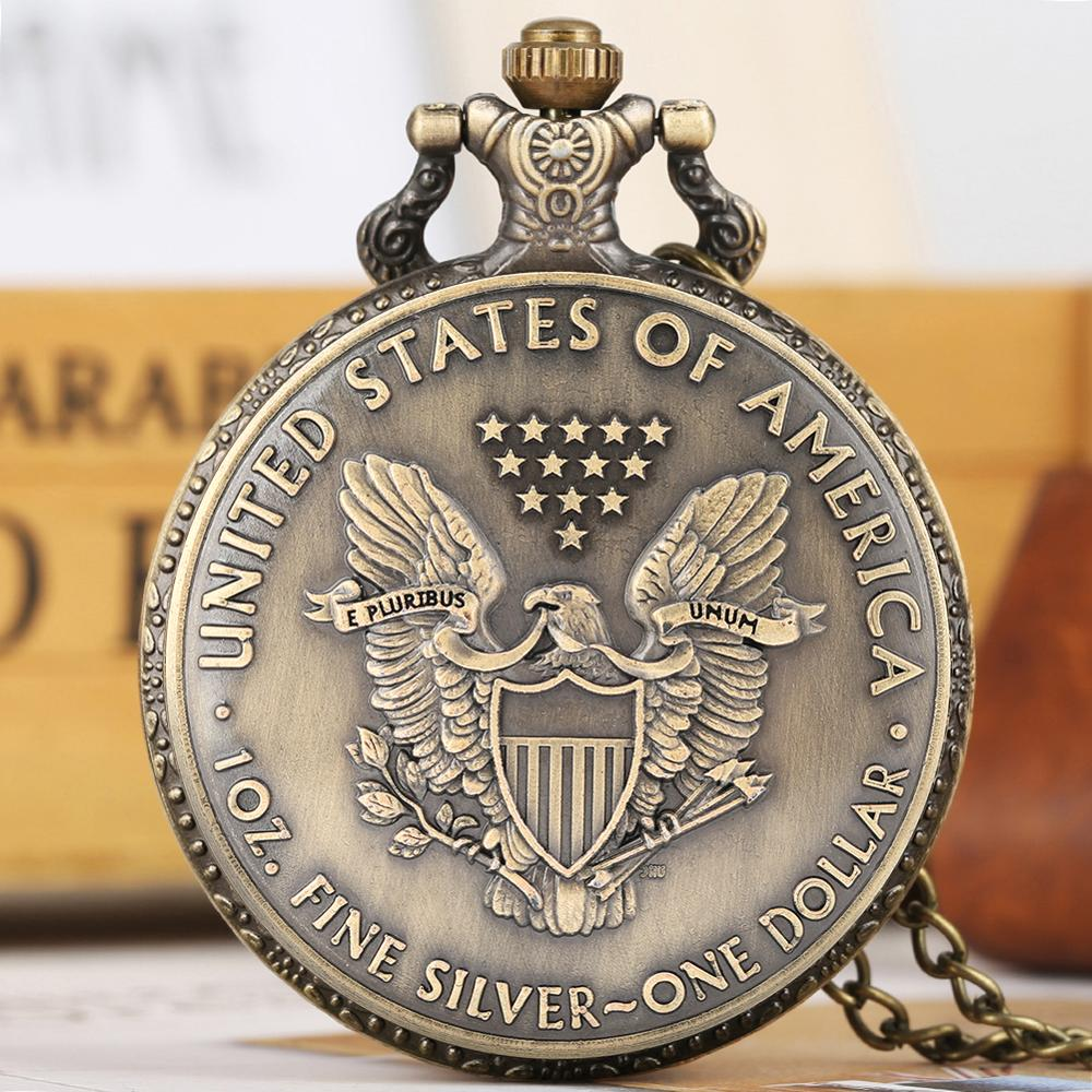 Quartz Pocket Watch Thick Chain Retro Dial Bronze Pendant Watches United States Of America Dollar One ~ Silver Fine 1 Oz. Reloj