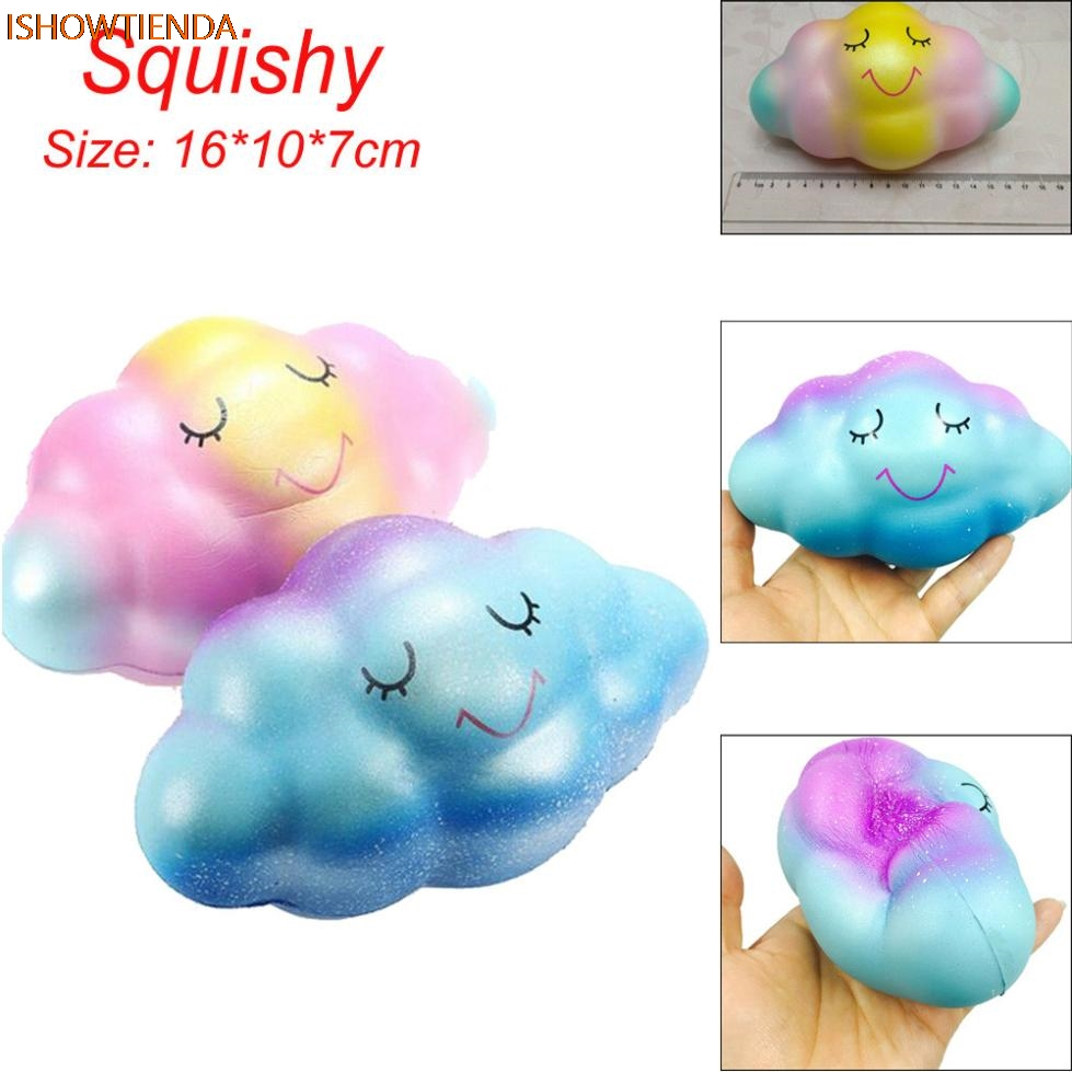16cm Rainbow Cloud Cream Scented Squishy Slow Rising Squeeze Toys Phone Charm PU Galaxy Cute Gift Toys Stress Relief Reliever