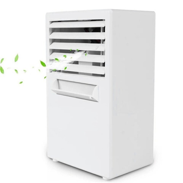 Mini Portable Air Conditioner Table Desk Small Home Office Bladeless Fan Humidifier Quiet Personal Moisturizing