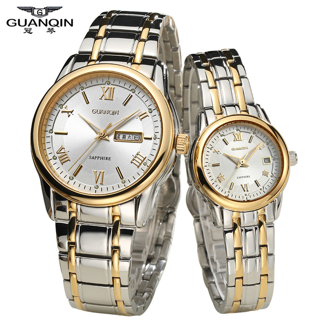 Original Quartz lovers' Watches Authentic GUANQIN Couple Watches Fashion Europe As gifts for Your Lover