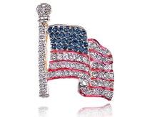 Fashion Costume Jewelry Genuine Crystal Rhinestone America USA Flag the Stars and Stripes Brooch Pins