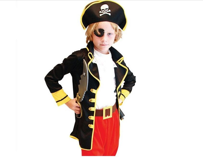 CaGiPlay Party Supplies Pirate Capain Jack Cosplay Boy girl Clothing Halloween Costume For Kids Children Christmas Costume