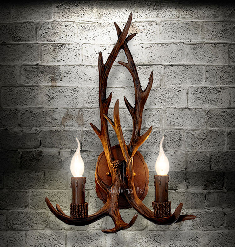 2016 Art Deco Retro Resin Antler Wall Lamp American Country Wall Light Deer Horn candle Lampshade Wall Sconce 110-240V ...