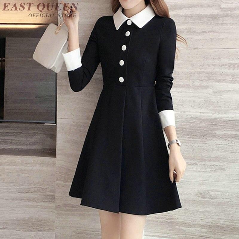 Black dress with white collar women long sleeve tunic black dress white collar school clothing white collar dress DD269 C