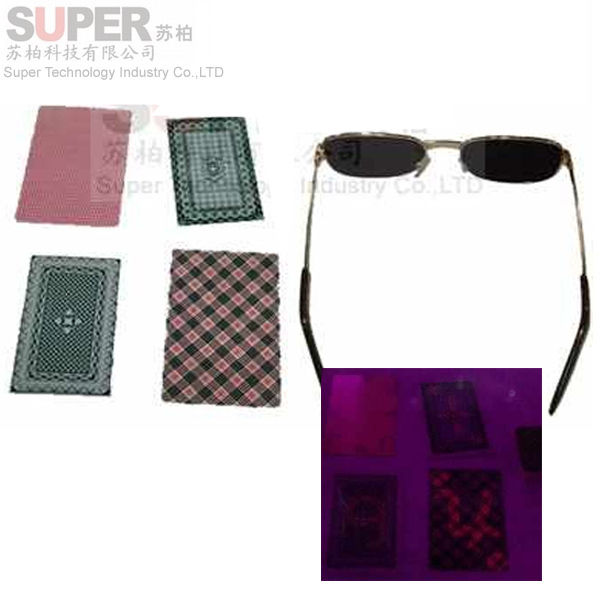 magic tool of glasses and magic playing cards,magician using canaster of perspective poker and glasses