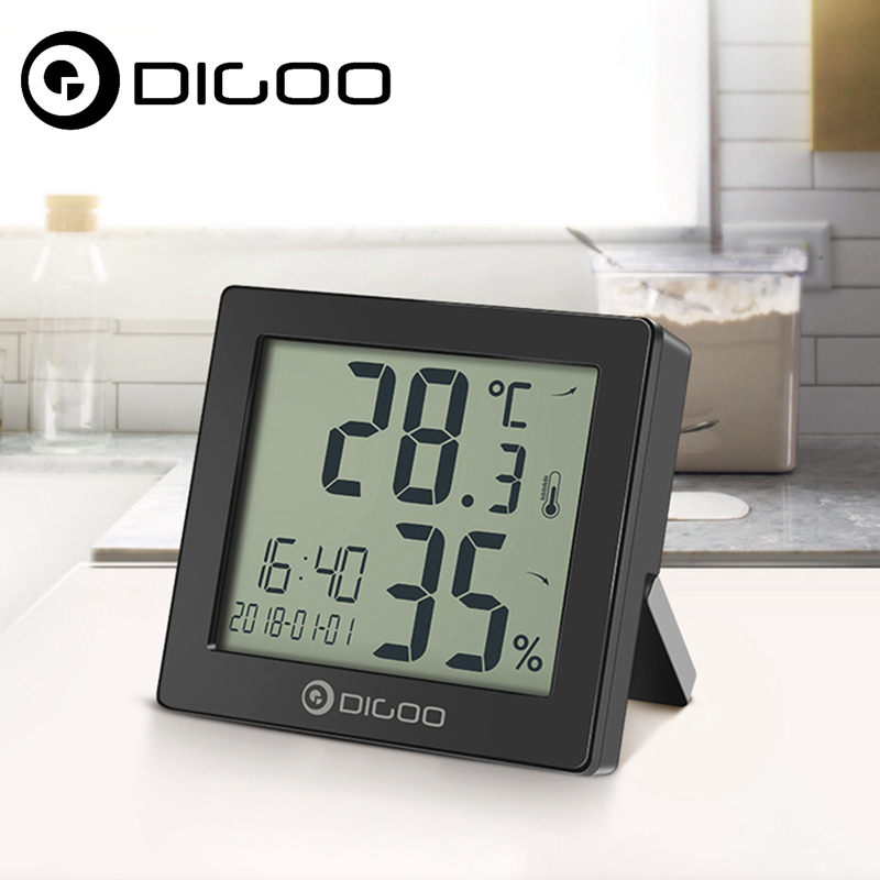 DIGOO DG-C11 Smart Home Weather Station Hygrometer Clock Digital Thermometer Hourly Chime Calendar Alarm 2018 New Arrival все цены