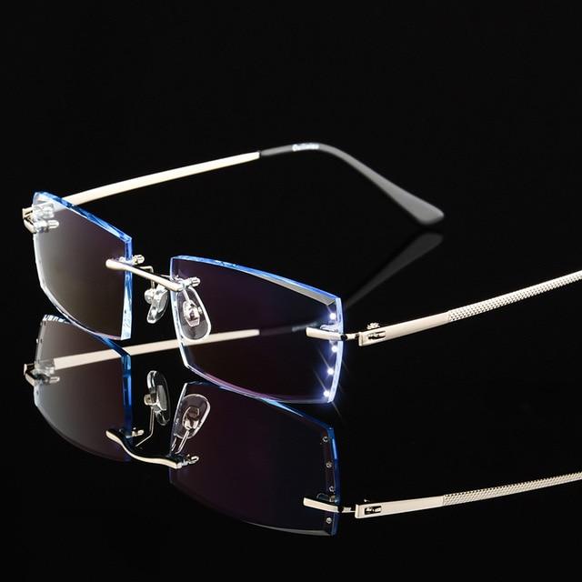 1e880cb4ee92 Fashion Glasses Men Titanium Rimless Eyeglasses Frame Diamond Decorations  Optical Frame with Prescription Glass New oculos