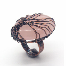 Kraft-beads Attractive Design Copper Wire Wrap Oval Resizable Natural Rose Pink Quartz Rings Wedding Jewelry