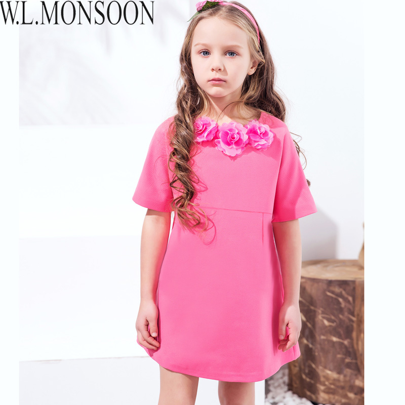 W.L.MONSOON Girls Party Dress Half Sleeve 2017 Brand Robe Enfant Princess Dress Toddler Clothes Handmade Flower Kids Dresses girls party dresses silk chiffon 2017 brand toddler dress princess costume for kids clothes flower robe enfant children dress