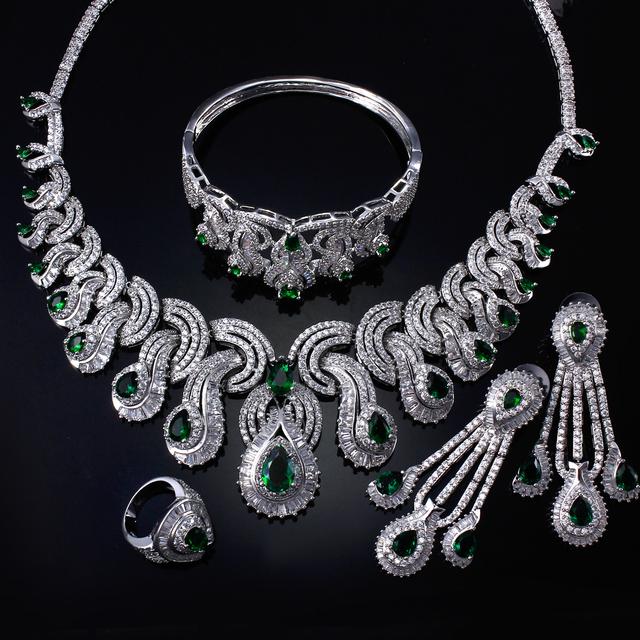 Grandes sistemas de La Joyería pavimenta el ajuste con aaa zirconia cúbico verde cristalino de la lágrima de lujo 4 unids fija el Collar + Pendientes + anillo + Pulsera
