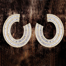 GODKI Movie Star 35mm Luxury  Cubic Zircon Women Engagement Wedding Party Dress Up Fashion Jewelry Silver Curved Earring
