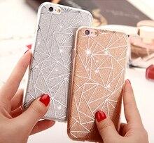 Cover Case Glitter Powder Silver Rhombus Soft TPU Case For iPhone 6, iPhone 7, iPhone 8, iPhone X