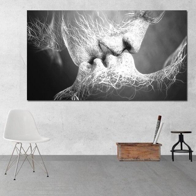 Unframed Abstraktes ölgemälde Liebe Kuss Wand Kunst Leinwand Drucke Bilder  Für Wohnzimmer Moderne Bilder Dekoration