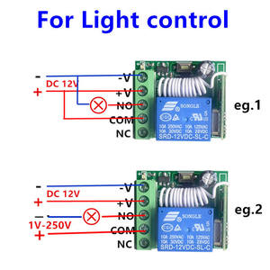 Image 3 - 433Mhz Universal Wireless Remote Control Switch DC 12V 10A 1CH relay Receiver Module and RF Transmitter 433 Mhz Remote Controls