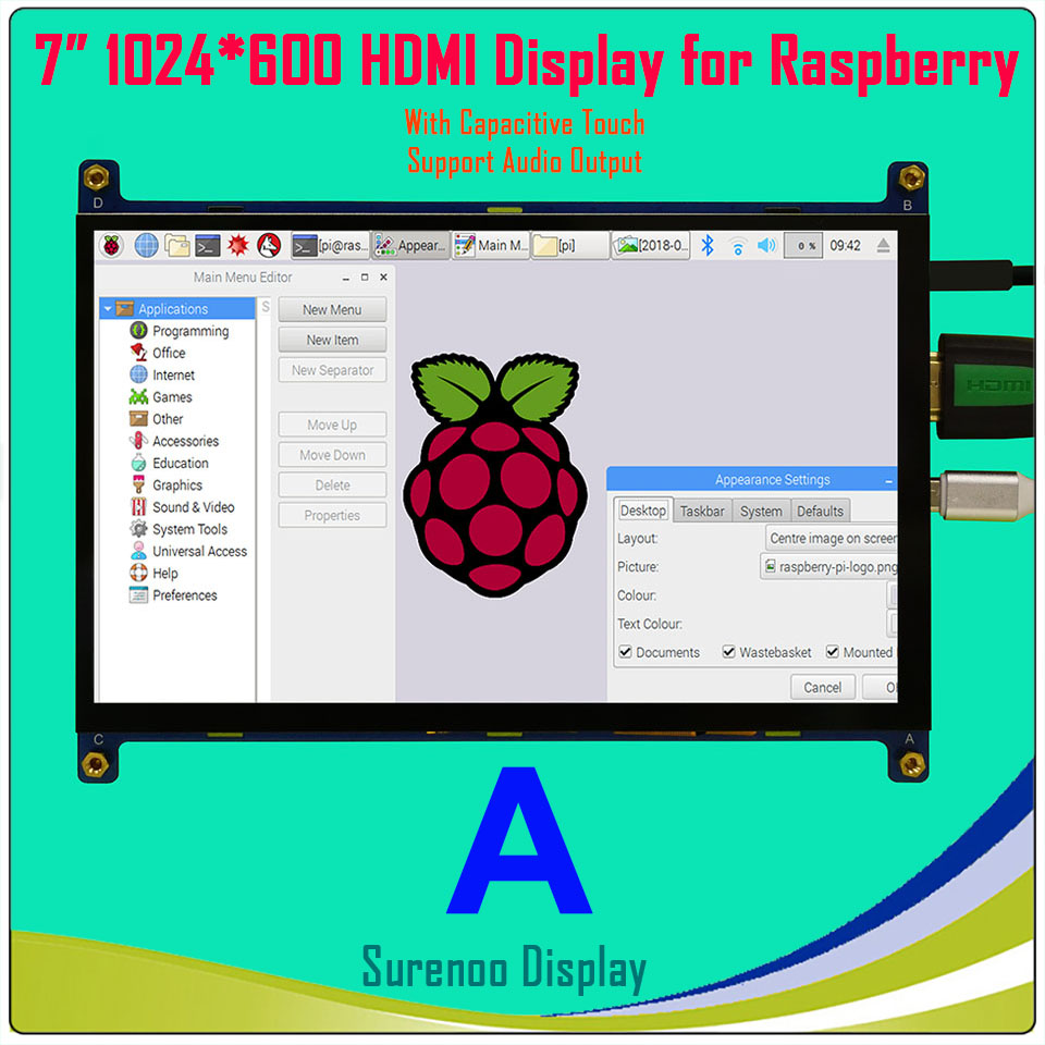 7 7.0 pouce 1024*600 TFT HDMI LCD Module D'affichage de L'écran du Moniteur avec USB Capacitif Tactile Panneau Audio sortie pour Raspberry Pi