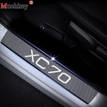 For VOLVO XC70 Car Door Sill Guard Sills Scuff Plate Stickers 4D Carbon Fiber Vinyl Sticker 4Pcs Interior Styling