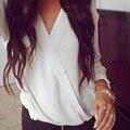 2016 Del Otoño Del Resorte Blusas Mujer Blusas Tops Ocasionales Flojas de la Gasa blusa de Manga Larga Cuello En V Profundo Negro Blanco Camisetas Plus tamaño