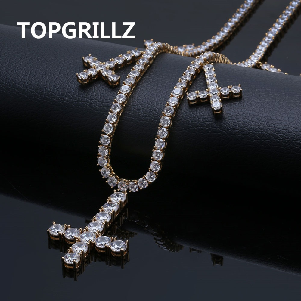 Iced Out CZ Cross Pendant & Necklace Tennis Chains Jewelry Gold Silver Color Men Women Charm 18  22 Necklaces For GiftsIced Out CZ Cross Pendant & Necklace Tennis Chains Jewelry Gold Silver Color Men Women Charm 18  22 Necklaces For Gifts