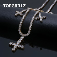 """Iced Out CZ Cross Pendant & Necklace Tennis Chains Jewelry Gold Silver Color Men Women Charm 18 """" 22 """"Necklaces For Gifts"""