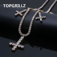 Iced Out CZ Cross Pendant & Necklace Tennis Chains Jewelry Gold Silver Color Men Women Charm 18 22 Necklaces For Gifts