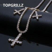 """Iced Out CZ krzyż wisiorek i naszyjnik łańcuchy tenisowe biżuteria złoto srebro kolor mężczyźni kobiety urok 18 """"22"""" naszyjniki na prezenty"""