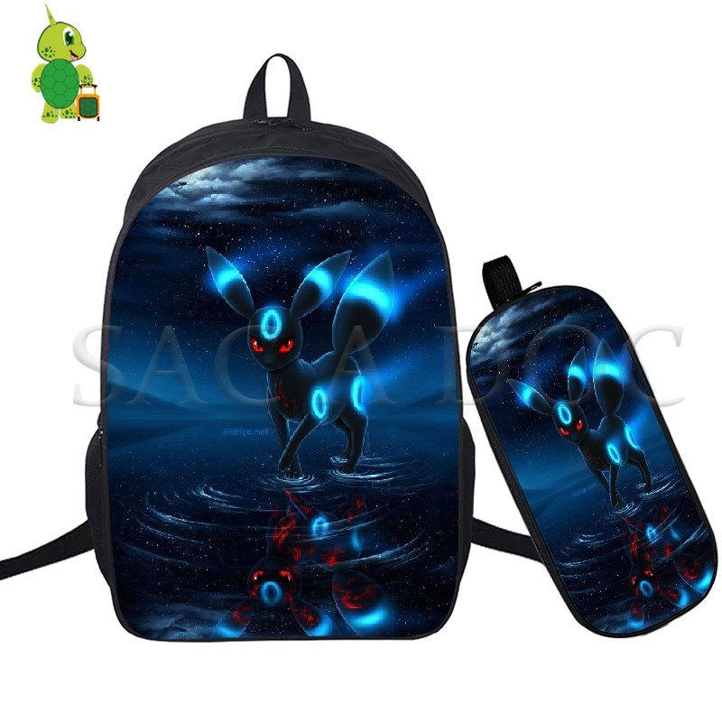 Pokemon Umbreon Team Instinct 2 Pcs/Set Backpack School Bags For Teenagers Students Laptop Backpack Casual Travel Bags