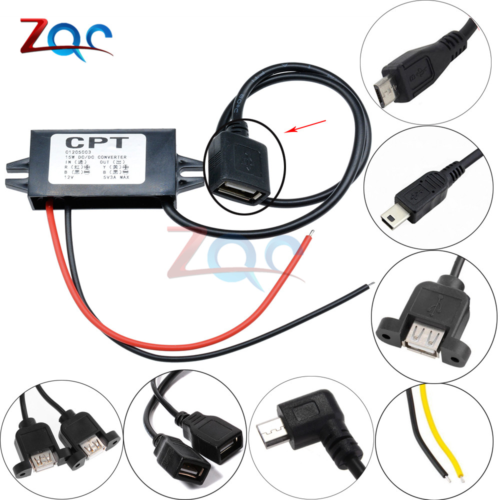 DC-DC 12V To 5V 3A 15W Car Power Converter Micro Mini USB Step Down Voltage Power Supply Output Adapter Low Heat Auto Protection