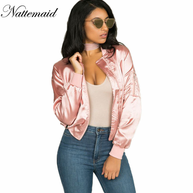 NATTEMAID Women bomber jacket 2016 Winter New Style women pink ...